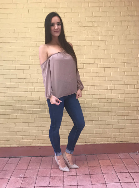 Taupe Off Shoulder-Top