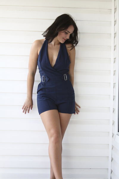 Buckle Up Blue Romper