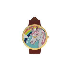 Awesome Gold Unicorn Watch with Brown Leather Strap - UnicornsAreAwesome