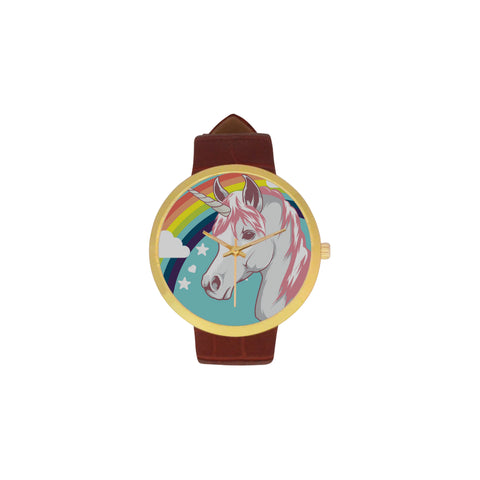 Awesome Gold Unicorn Watch with Brown Leather Strap