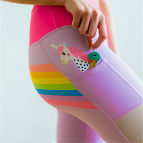 Unicorn Pocket Side Mesh Yoga Leggings - Leggings with Pockets - UnicornsAreAwesome