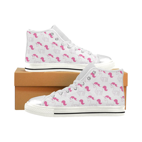 Awesome Pink Unicorn Shoes, High Top (Large Size)