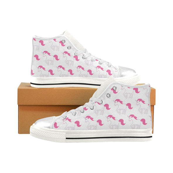 Awesome Pink Unicorn Shoes (Kids Sizes) High Top - UnicornsAreAwesome
