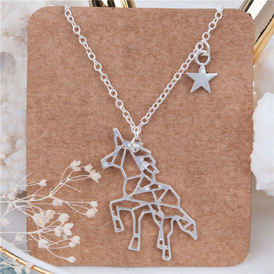 Silver Plated Unicorn Origami Necklace - UnicornsAreAwesome