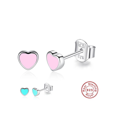 Sterling Silver Pink Heart-Shaped Stud Earrings - UnicornsAreAwesome