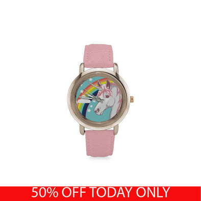 Awesome Rose Gold Unicorn Watch! (Gold Plated & Pink Leather Strap) - UnicornsAreAwesome