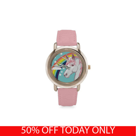 Awesome Rose Gold Unicorn Watch! (Gold Plated & Pink Leather Strap)