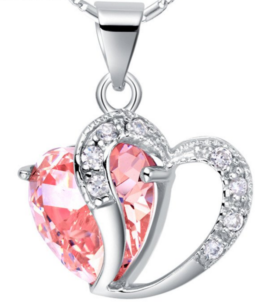 Pink Heart Crystal Pendant Necklace