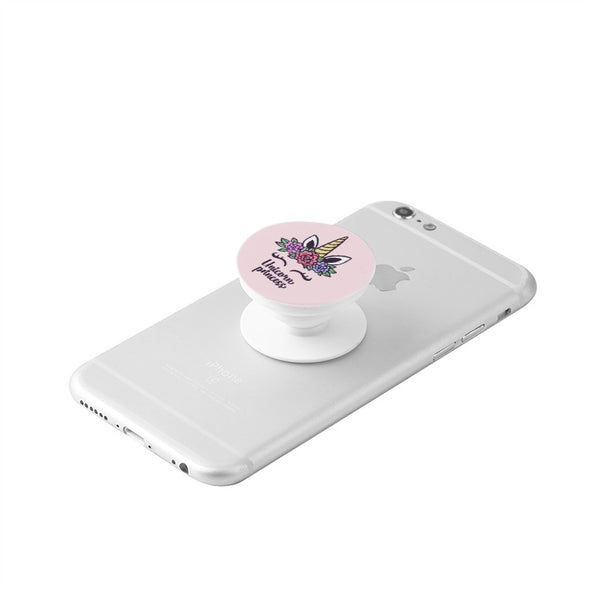 White Collapsible Unicorn Grip & Stand for Phones and Tablets - Just Like PopSocket! - UnicornsAreAwesome