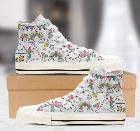 Awesome Unicorn Rainbow High Top Shoes