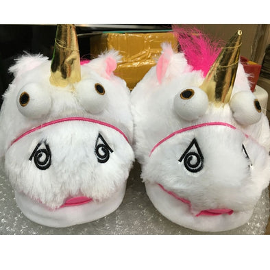 Unicorn Plush House Slippers - UnicornsAreAwesome