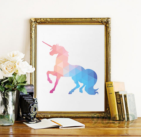 Geometric Rainbow Unicorn Canvas