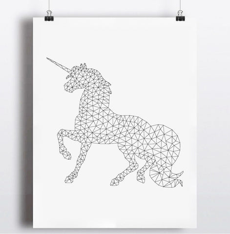 Geometric Unicorn Canvas Painting