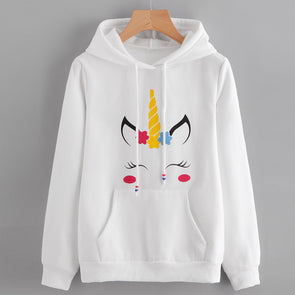 Unicorn Print Long Sleeve Hoodie Pullover - UnicornsAreAwesome
