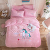 Unicorn Embroidery 4-Piece Flannel Bed Set - UnicornsAreAwesome