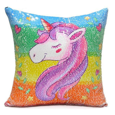 Reversible Sequin Unicorn Pillow Slip - UnicornsAreAwesome