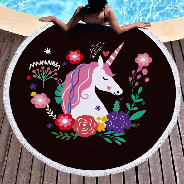 Round Unicorn Beach Towel - UnicornsAreAwesome