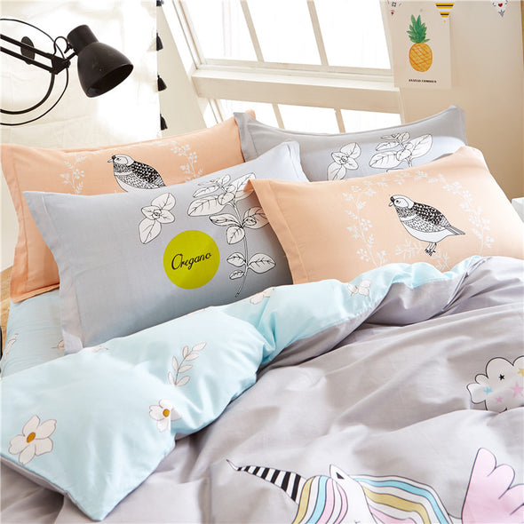 Unicorn Over A Rainbow 4-Piece Bed Set - UnicornsAreAwesome