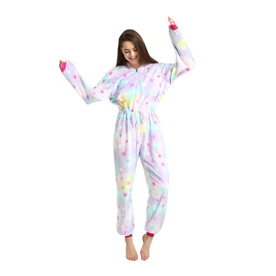 Fluffy Unicorn Pajamas - Long Sleeve Hooded Onesie