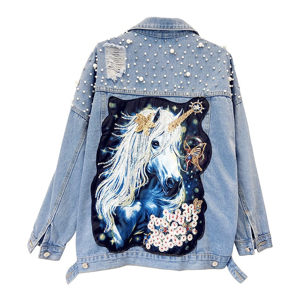 Ripped Unicorn Denim Jacket with Pearls & Sequins - UnicornsAreAwesome