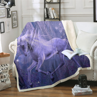 Purple Unicorn Sherpa Blanket - UnicornsAreAwesome