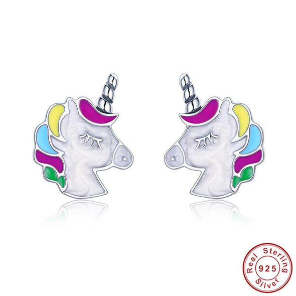 Sterling Silver Unicorn Stud Earrings - UnicornsAreAwesome