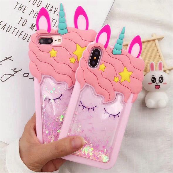 3D Glitter Unicorn Soft Case For iPhone - UnicornsAreAwesome