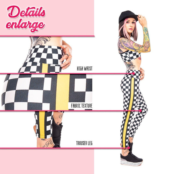 Unicorn Rebel Chessboard High Waist Leggings - UnicornsAreAwesome