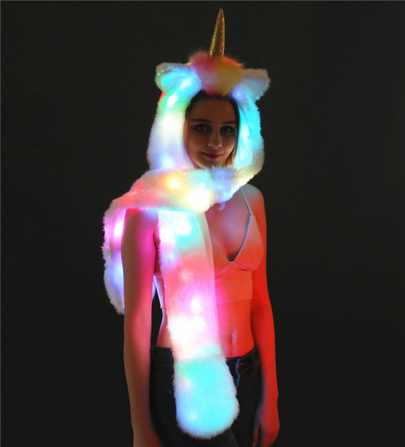 Led Unicorn Hoodie and Unicorn Hat with Gloves and Pockets - - UnicornsAreAwesome
