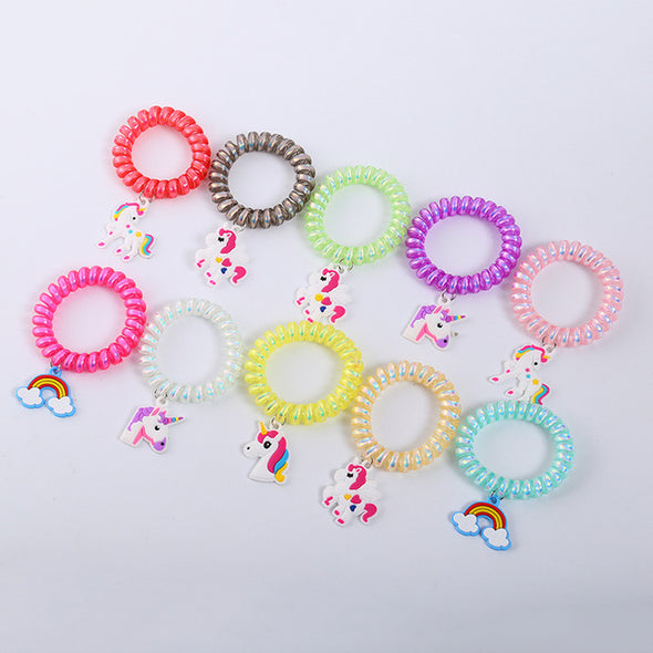 5-Piece Rainbow Unicorn Hair Tie Set - UnicornsAreAwesome