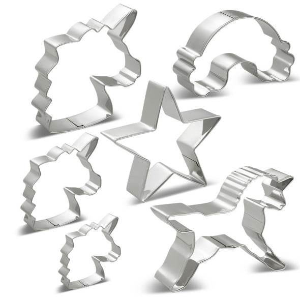 Unicorn Cookie Cutters Set - 6 Piece - Unicorn Head Stainless Steel - UnicornsAreAwesome