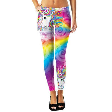 Cosmos 3D Rainbow Unicorn Print Leggings - UnicornsAreAwesome