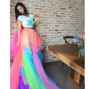 Colorful Unicorn Costume - Long Tulle Tutu Skirt with Tiered Ruffles - UnicornsAreAwesome