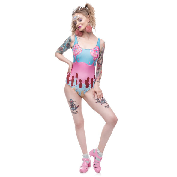 Unicorn Rebel One-Piece Swimsuit With Donuts - UnicornsAreAwesome