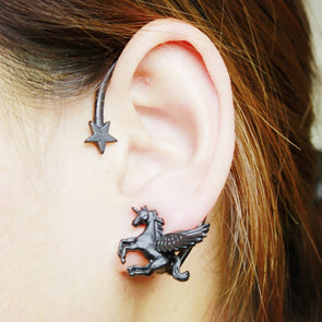 Unicorn Pegasus Star Clip On Earrings - UnicornsAreAwesome