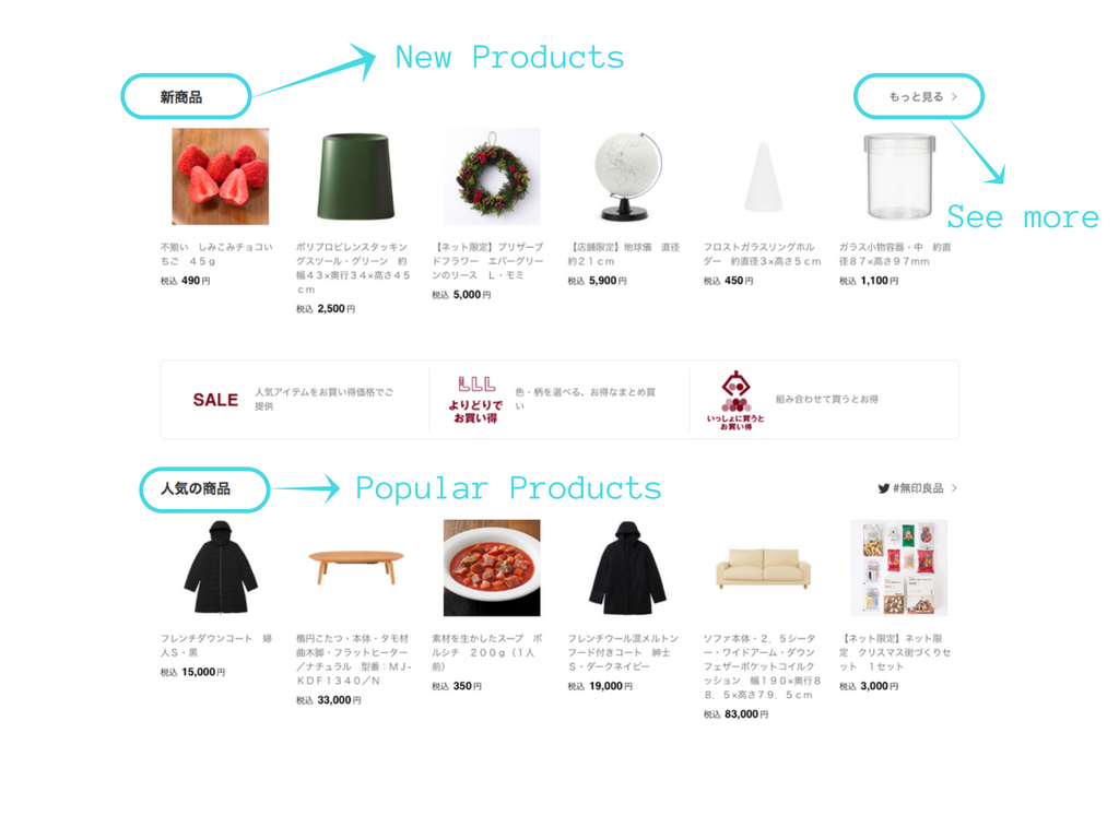 Products at Muji