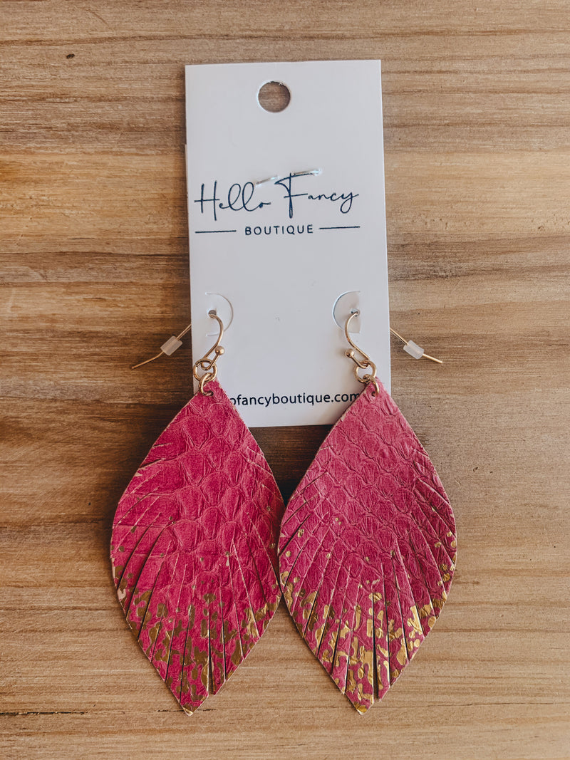 Magenta Gold Speckled Feather Earrings