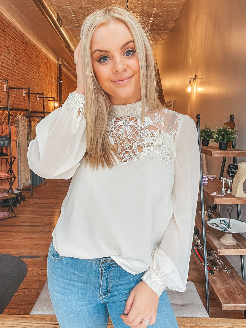 Lace Queen Blouse - Cream