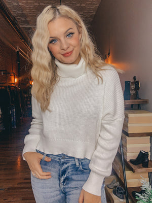 White Crop Sweater