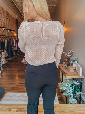 Dot Puff Shoulder Blouse