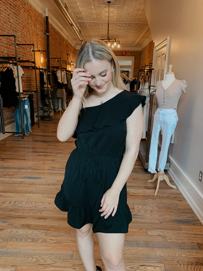 Black One Shoulder Vacation Dress
