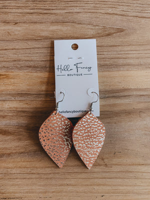 Peach Leather Earrings