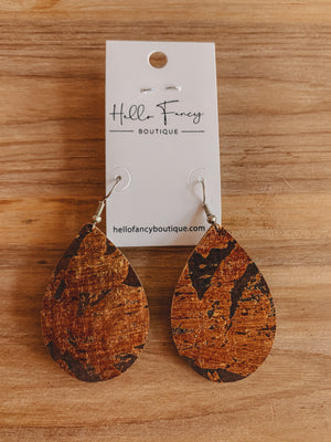 Chocolate & Rust Cork Earrings