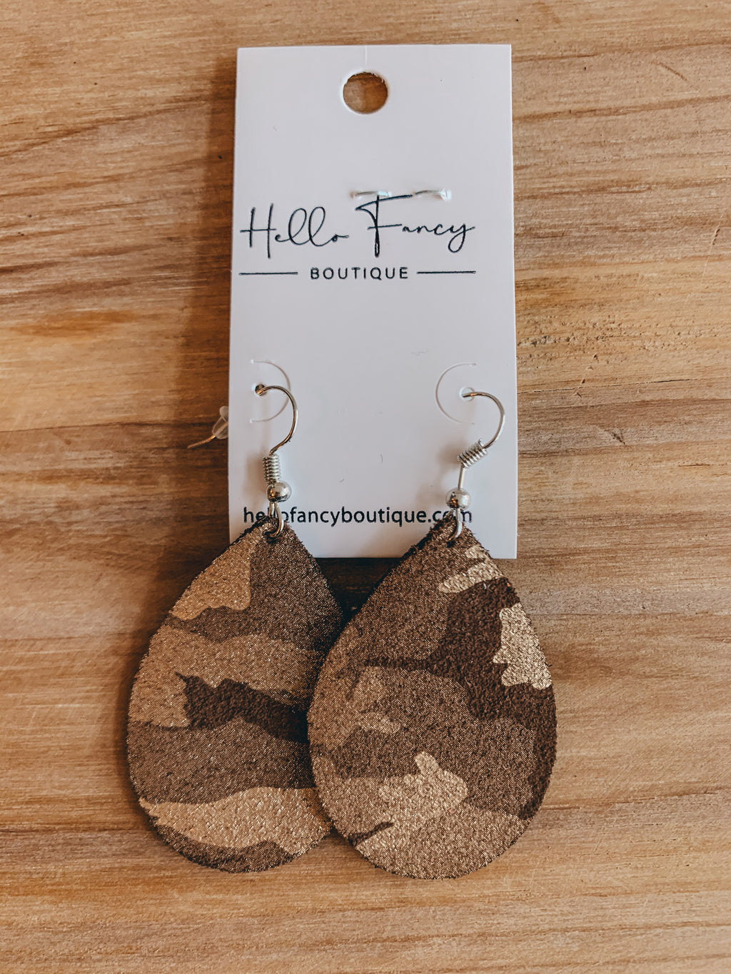Brown Camo Earrings