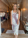 Grey/Apricot Tiedye Maxi Dress
