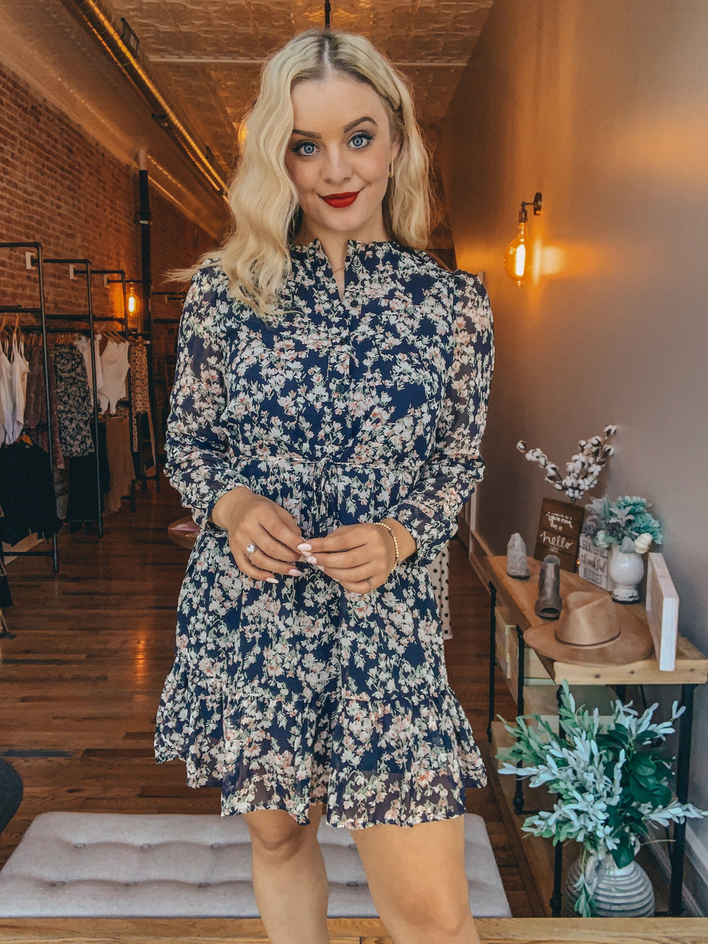 Fancy Floral High Neck Dress
