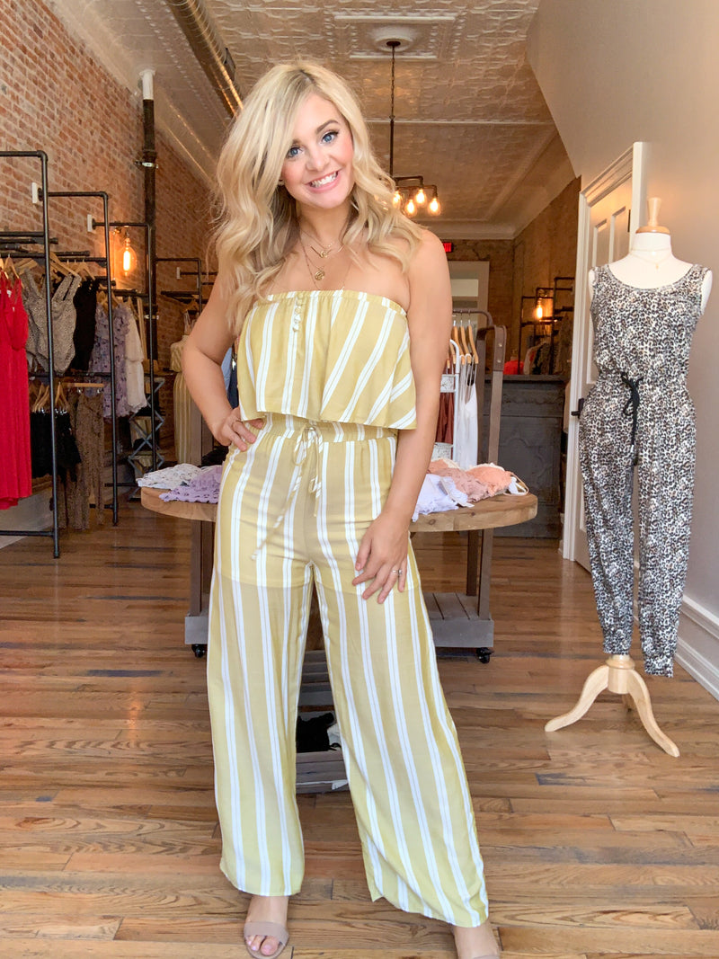 Lime Striped Jumpsuit