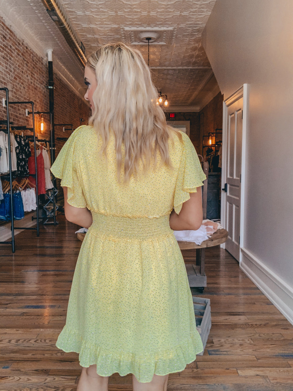 Yellow Ditsy Printed Dress