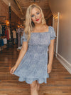 Dusty Blue Smocked Dress