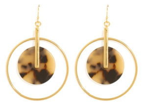 Gold Tortoiseshell Circle Earrings